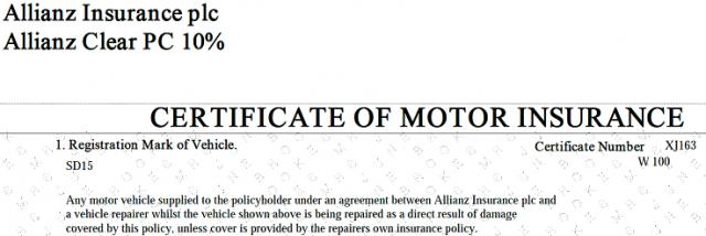 Motor Certificate